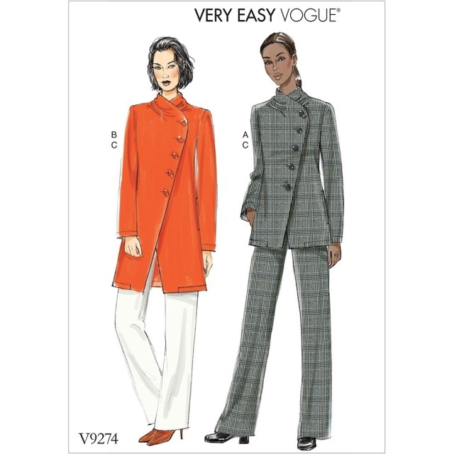 Jacket Sewing Patterns Misses Asymmetrical Lined Jacket And Pull On Trousers Vogue Sewing