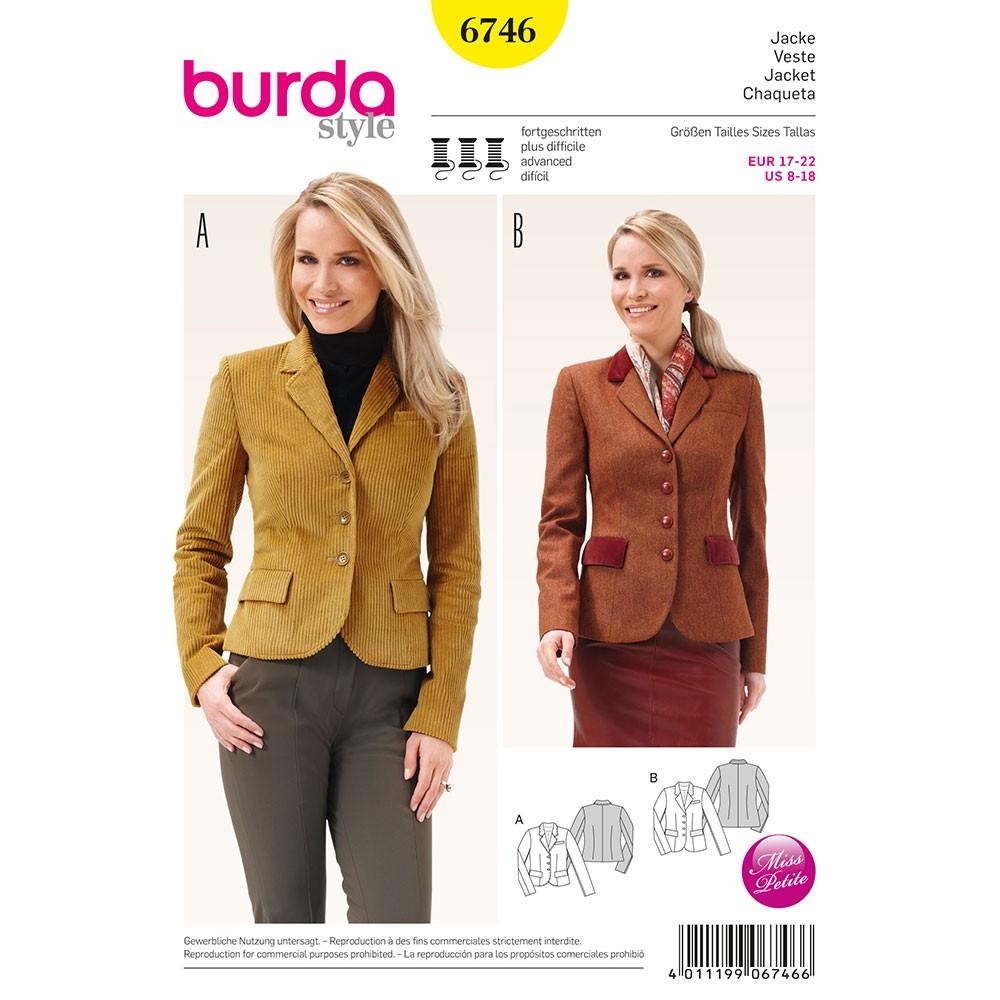 Jacket Sewing Patterns Misses Blazer Jacket Burda Sewing Pattern No 6746 Size 8 18 Sew