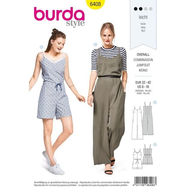 Jumpsuit Sewing Pattern Misses Jumpsuit In Various Lengths Burda Sewing Pattern 6408 Sew