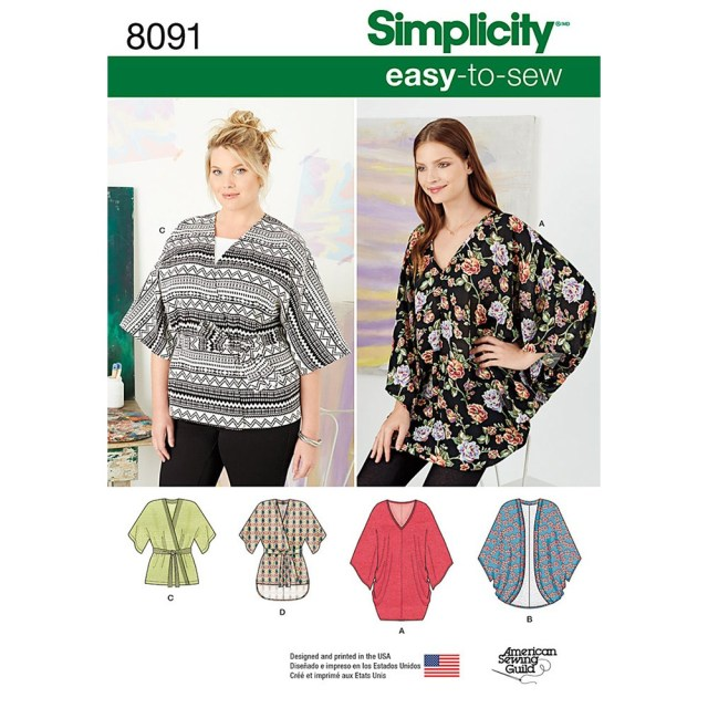 Kimono Sewing Pattern Misses Kimonos In Various Styles Simplicity Sewing Pattern 8091