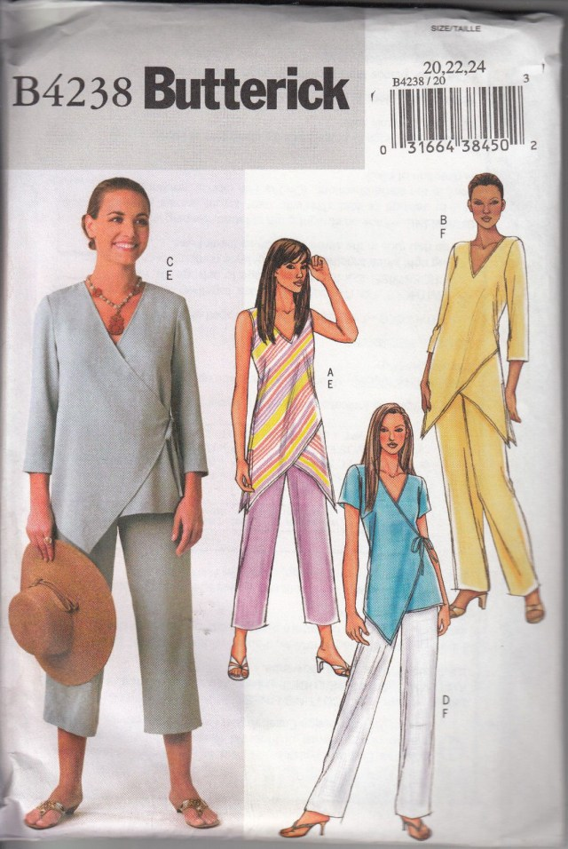 Lagenlook Sewing Patterns Butterick Pattern 4238 Sz 202224 Asymmetrical Top With Short Or