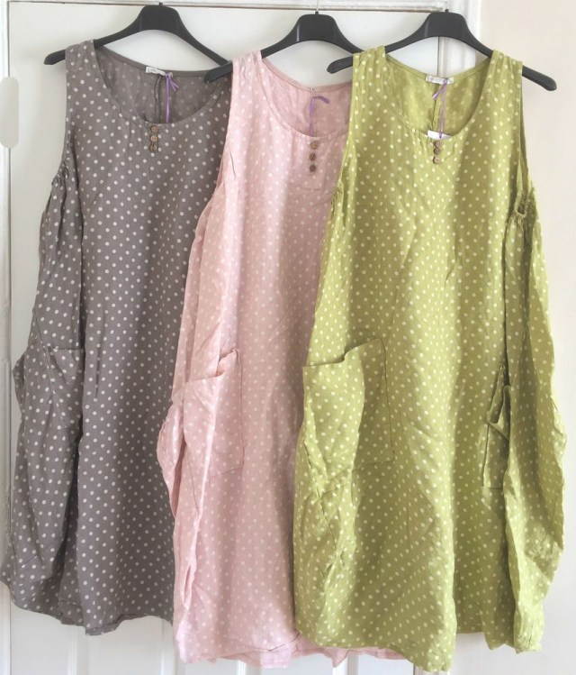 Lagenlook Sewing Patterns New Boho Italian Lagenlook 100 Polka Dot Linen Tunic Pocket