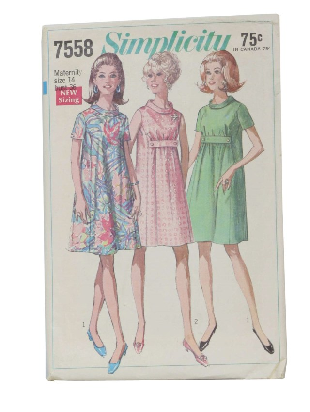 Maternity Sewing Patterns 1960s Retro Sewing Pattern 1968 Simplicity Pattern No 7558