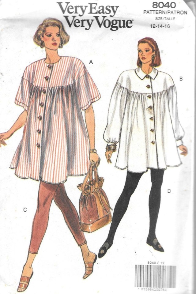 Maternity Sewing Patterns 90s Vogue 8040 Misses Maternity Dress Top And Legging Pants Size 12