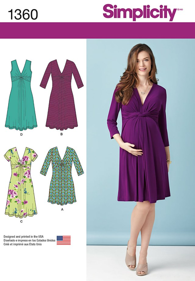 Maternity Sewing Patterns Simplicity 1360 Misses Maternity Knit Dress Or Mini Dress