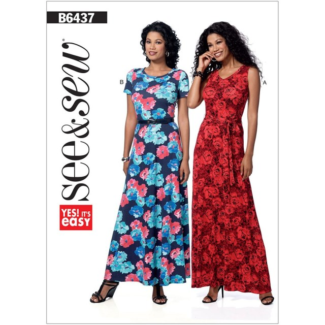 Maxi Dress Sewing Pattern Misses And Misses Petite Pullover Maxi Dresses And Belt Butterick