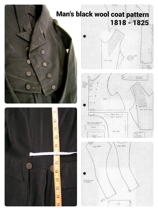 Mens Sewing Patterns 1818 1825 Mens Black Wool Coat Pattern Taken From Extant Garment