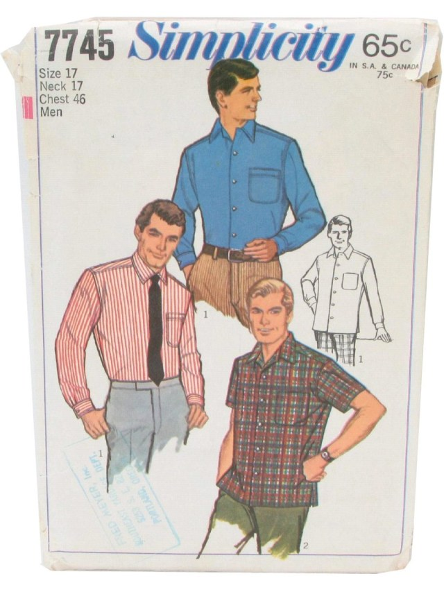 Mens Sewing Patterns 1960s Sewing Pattern Simplicity 7745 60s Simplicity 7745