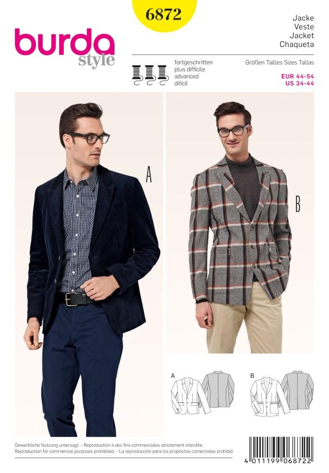 Mens Sewing Patterns Burda 6872 Mens Jackets