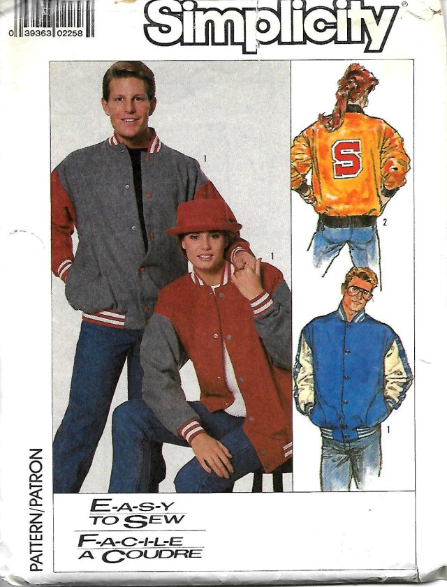 Mens Sewing Patterns Simplicity 8175 Misses Mens Or Teen Boys Baseball Jacket Letter