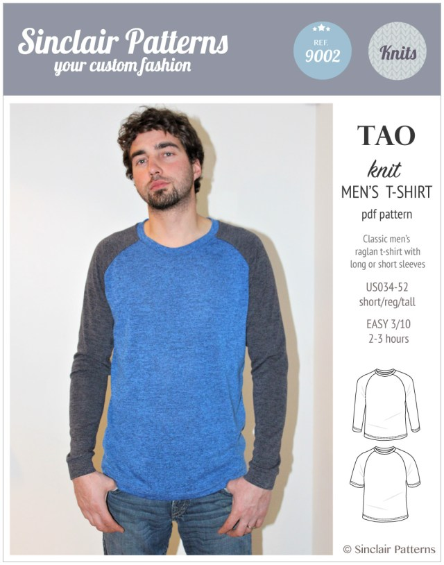 Mens Sewing Patterns Tao Semi Fitted Classic Raglan T Shirt For Men Pdf Sinclair Patterns