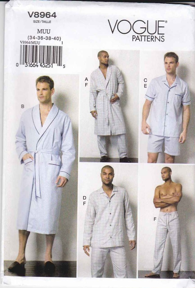 Mens Sewing Patterns Vogue Sewing Pattern 8964 Mens Chest Size 40 46 Easy Wrap Robe