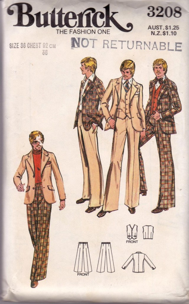 Mens Suit Sewing Patterns 70s Vintage Mens Sewing Pattern Butterick 3208 Retro Suit Blazer