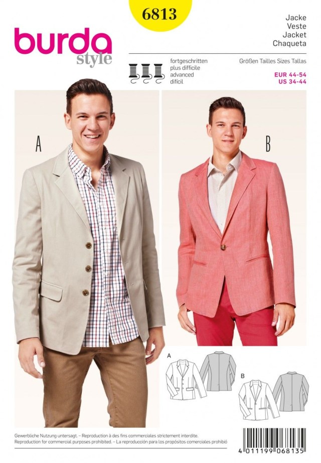 Mens Suit Sewing Patterns Burda B6813 Menswear Sportswear Sewing Pattern Mens Clothing