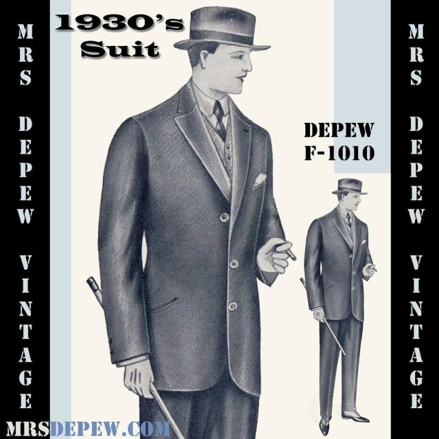 Mens Suit Sewing Patterns Vintage Sewing Pattern 1930s Mens Suit Coat And Trousers Any Size
