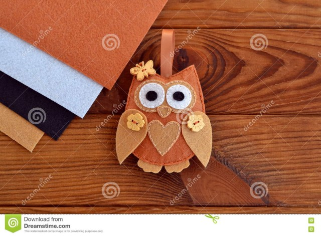 Owl Sewing Pattern Home Decor Cute Toy On Wooden Background Felt Owl Sewing Pattern