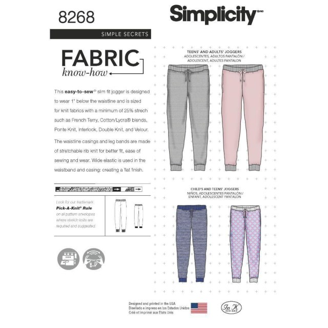 Pants Sewing Pattern Simplicity Sewing Pattern Misses Teens Adult Slim Fit Jogger Pants