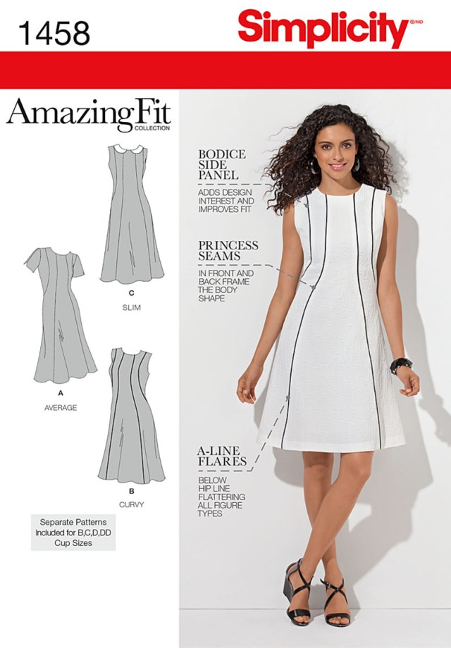Plus Size Sewing Patterns Simplicity Amazing Fit Misses Plus Size Sewing Pattern 1458 Dress