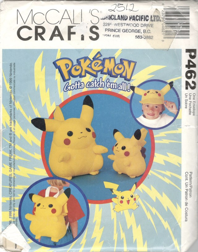 Pokemon Sewing Patterns Mccalls 2512 P462 1990s Pikachu Backpack Doll And Hat Pattern Etsy
