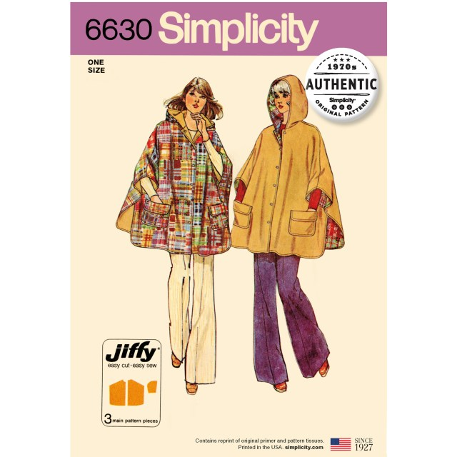 Poncho Sewing Pattern Simplicity Sewing Pattern 6630 Misses Vintage 70s Jiffy Poncho