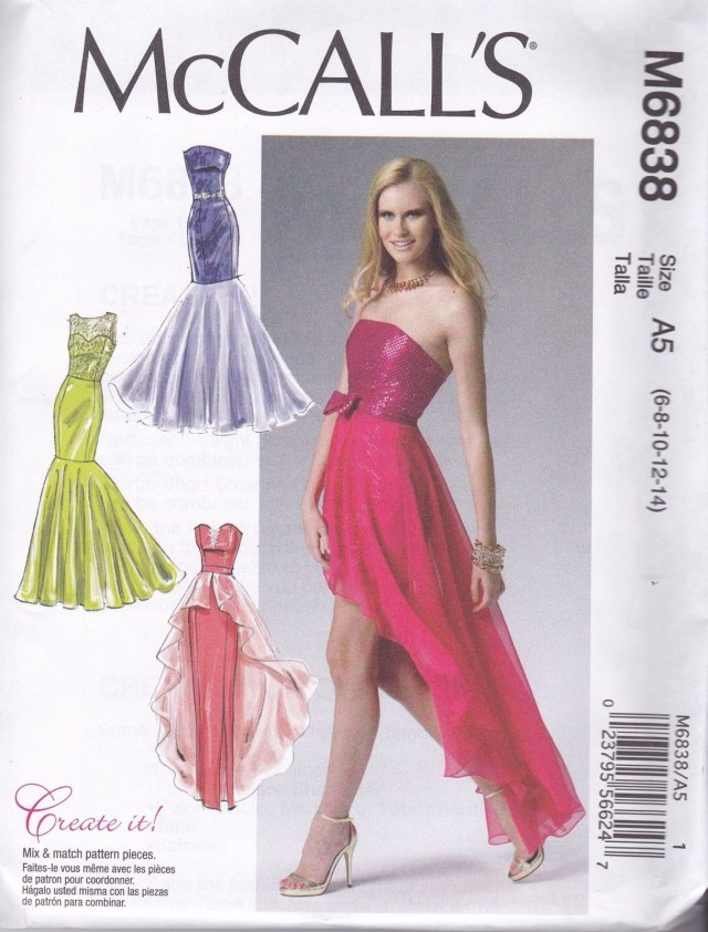Prom Dress Sewing Patterns Mccall S Sewing Pattern Misses Prom Evening Dress Sizes 6 22 M6838