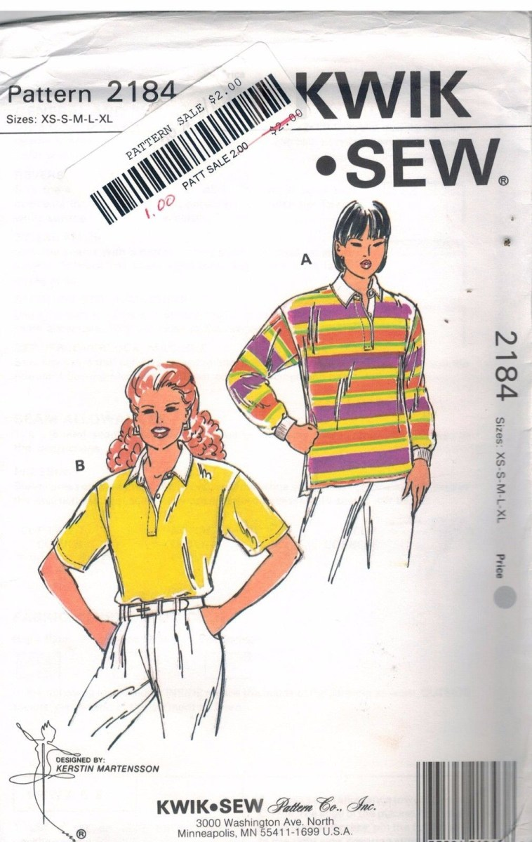Quick Sew Patterns 2184 Kwik Sew Misses Polo Shirt Collar Sleeve Variations Pattern Uc