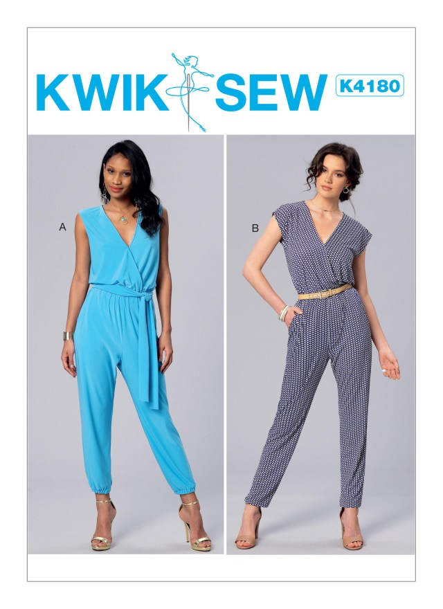 Quick Sew Patterns Kwik Sew 4180 Misses Surplice Blouson Jumpsuits And Sash