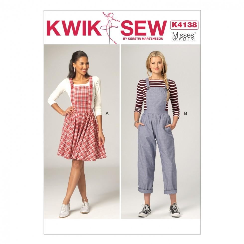 Quick Sew Patterns Kwik Sew Ladies Sewing Pattern 4138 Pinafore Dress Dungarees
