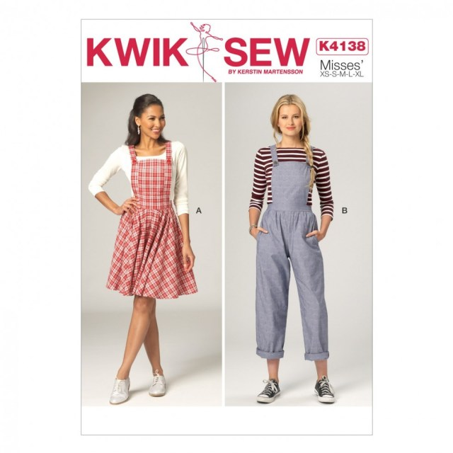Quick Sew Patterns Kwik Sew Ladies Sewing Pattern 4138 Pinafore Dress Dungarees
