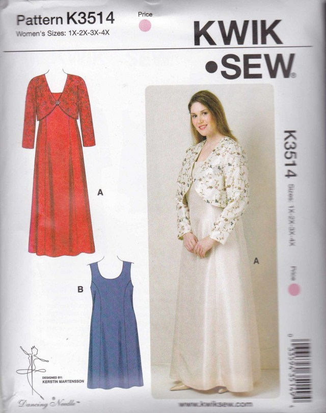 Quick Sew Patterns Kwik Sew Sewing Pattern 3514 Womens Plus Sizes 1x 4x Dresses Bolero
