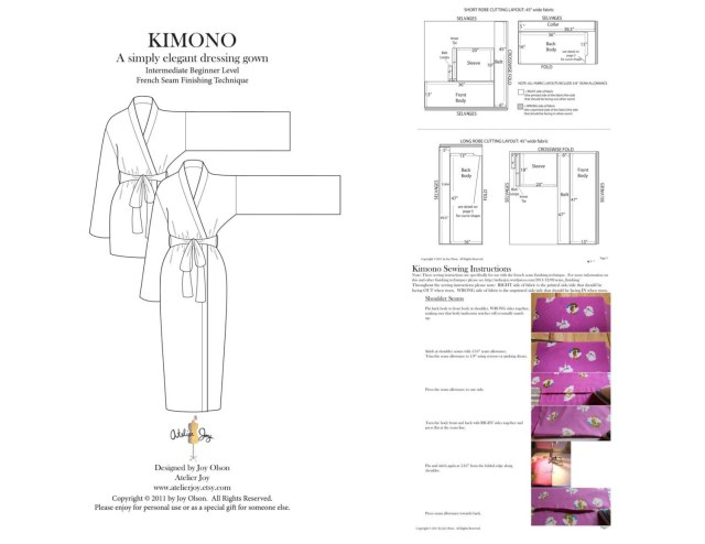 Robe Sewing Pattern Kimono Robe Pattern French Seams Finishing Technique Pdf Pattern