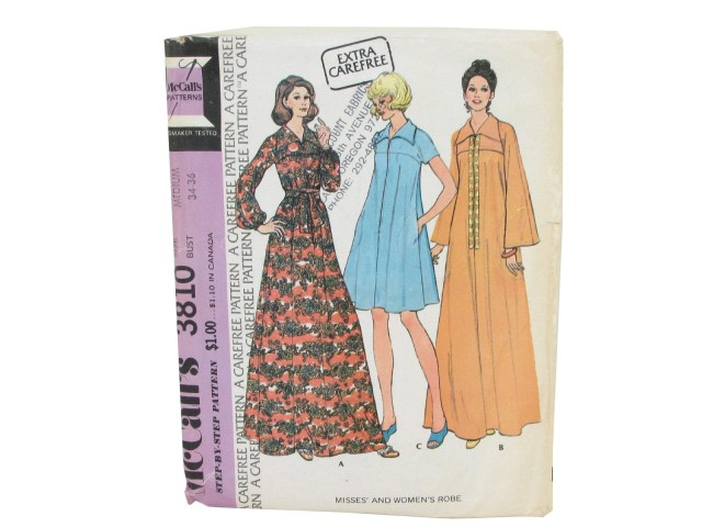 Robe Sewing Pattern Retro 70s Sewing Pattern Mccalls 3810 70s Mccalls 3810 Misses