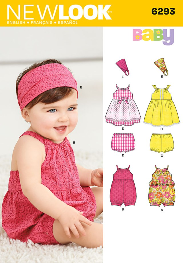 Romper Sewing Pattern New Look 6293 Babies Romper Dress Knickers And Headband Sewing