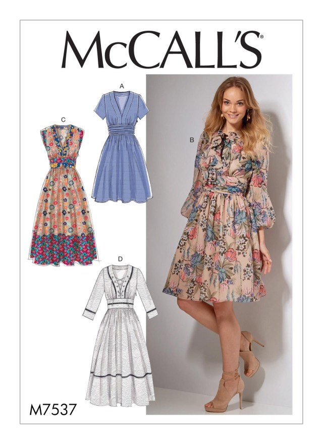Sewing Dress Patterns Mccalls 7537 Misses Banded Gathered Waist Dresses Patterns