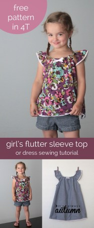 Sewing Pattern For Girl Girls Flutter Sleeve Dress Or Top Sewing Tutorial Free Pattern In