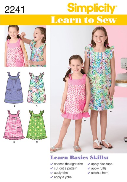 Sewing Pattern For Girl Simplicity 2241 Learn To Sew Childs Girls Dresses