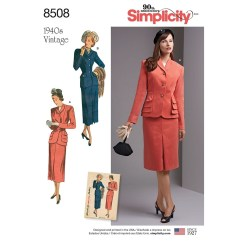 Sewing Pattern Womens Coat Misses And Womens Vintage Two Piece Suit With Lined Jacket