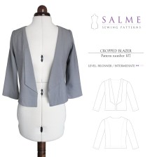 Sewing Pattern Womens Coat Salme Sewing Patterns 107 Cropped Blazer Downloadable Pattern
