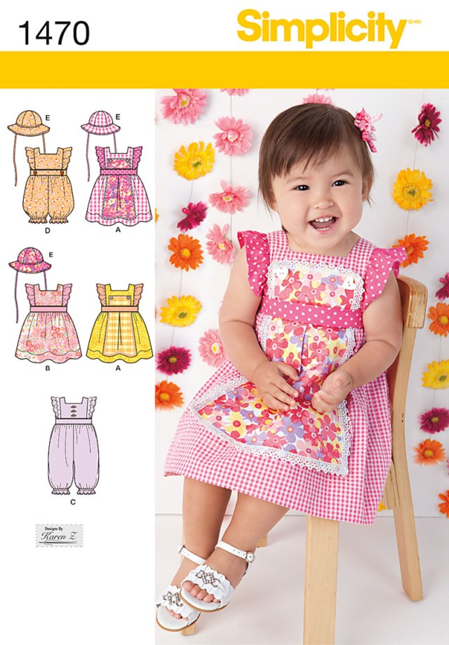 Sewing Patterns For Babies Simplicity 1470 Babies Dress Romper And Hat In Three Sizes