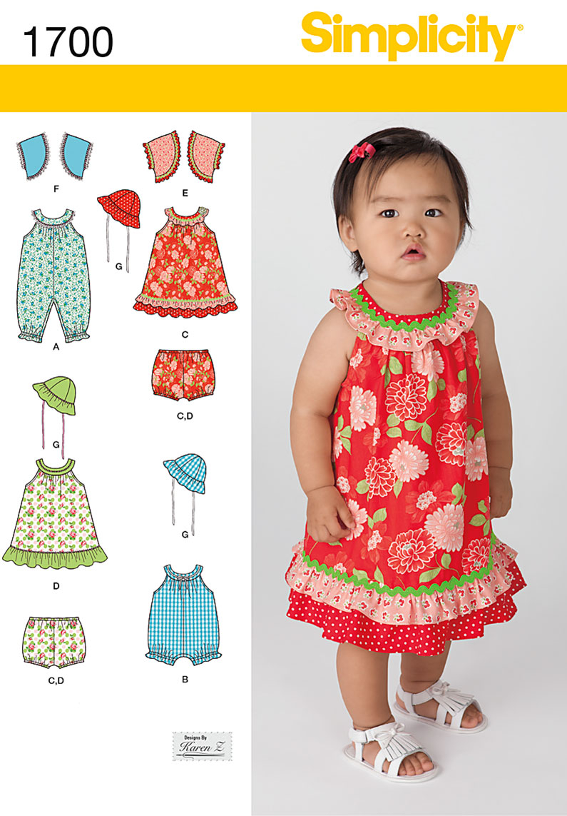 Sewing Patterns For Babies Simplicity 1700 Babies Dress And Separates