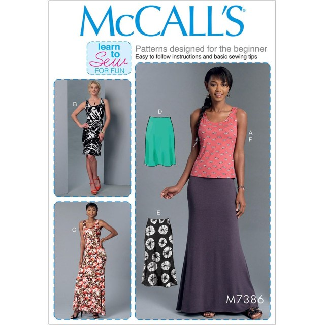 Sewing Patterns For Beginners Misses Knit Tank Top Dresses And Skirts Mccalls Sewing Pattern 7386