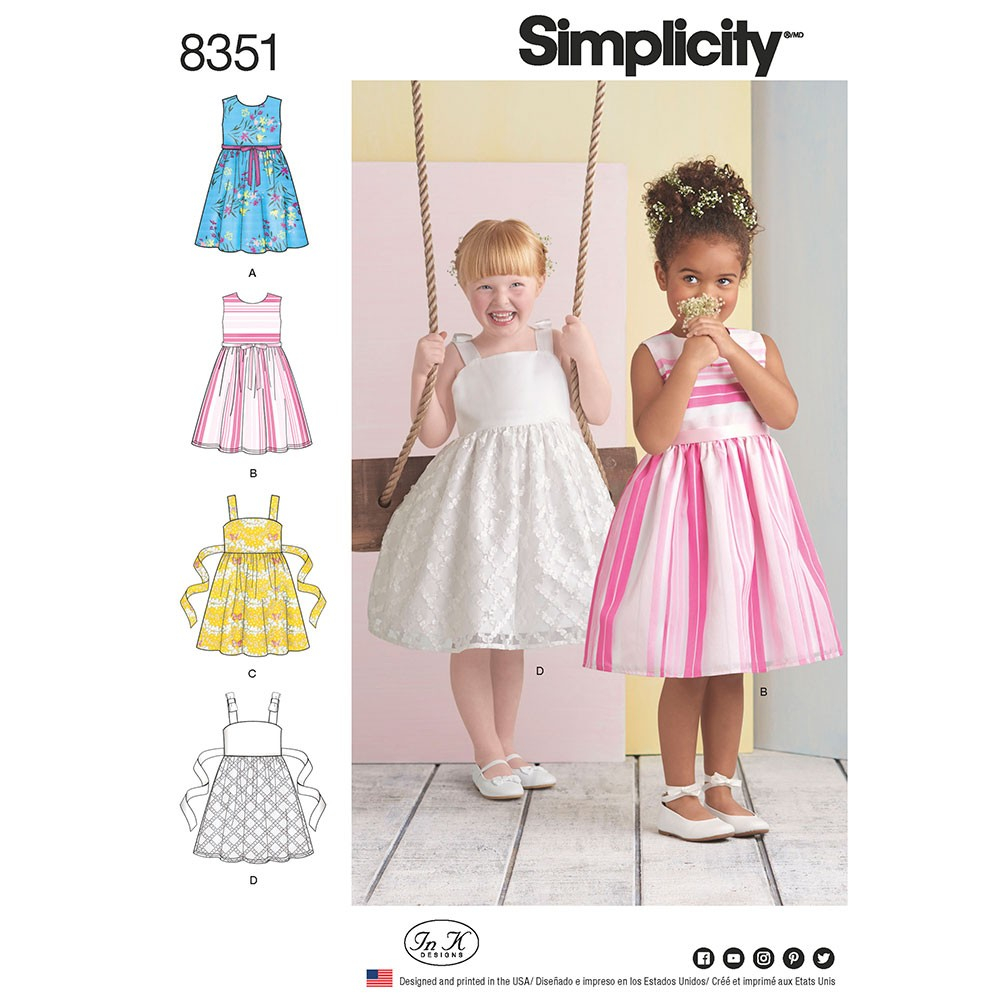 Sewing Patterns Girls Girls Dress Simplicity Sewing Pattern 8351 Sew Essential