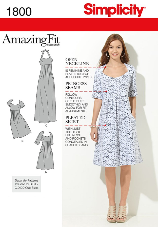 Sewing Patterns Plus Size Simplicity Amazing Fit Missesplus Size Sewing Pattern 1800 Dress Ebay