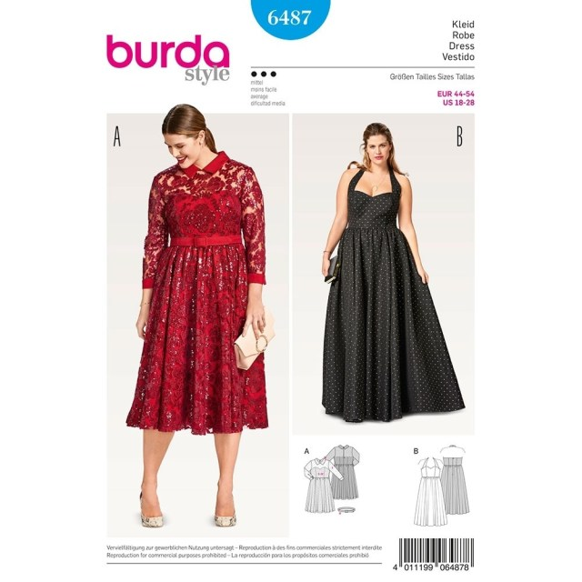 Sewing Patterns Plus Size Womens Plus Size Evening Dress Burda Sewing Pattern 6487 Sew Essential