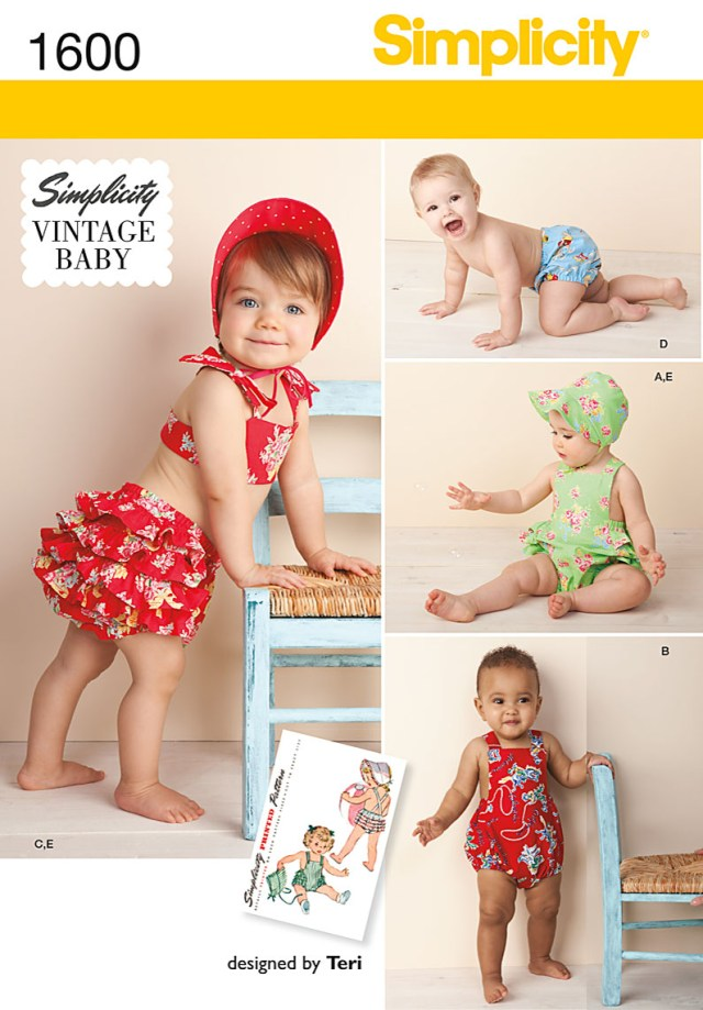 Sewing Patterns Simplicity 1600 Simplicity Pattern Babies Vintage Romper Set