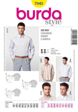 Shirt Sewing Pattern Burda 7045 Mens Shirts