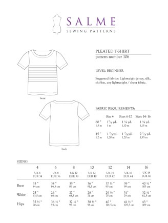 Shirt Sewing Pattern Salme Sewing Patterns 106 Pleated T Shirt Downloadable Pattern