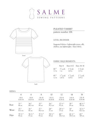 Shirt Sewing Pattern Salme Sewing Patterns 106 Pleated T Shirt Downloadable Pattern