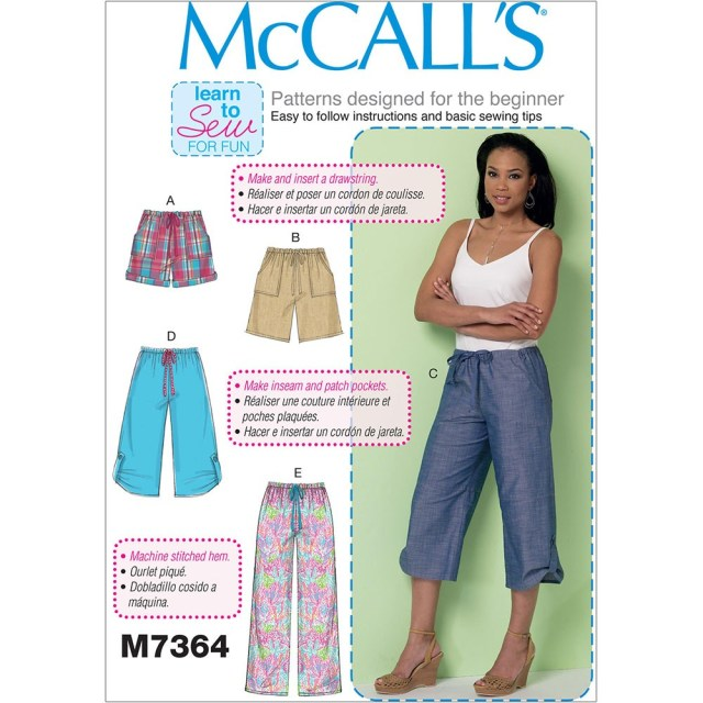 Shorts Sewing Pattern Misses Drawstring Shorts And Trousers With Pockets Mccalls Sewing