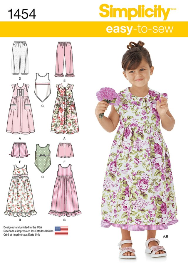 Shorts Sewing Pattern Simplicity 1454 Childs Dress Slip Dress Or Top And Pants Or Shorts